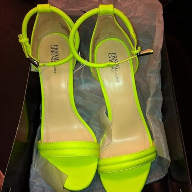 Shoes: neon green, high heels, heels, green heels, sandals, sandal ...