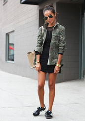 sincerely jules,dress,blouse,jacket,shoes,bag,jewels,sunglasses,army print,camouflage