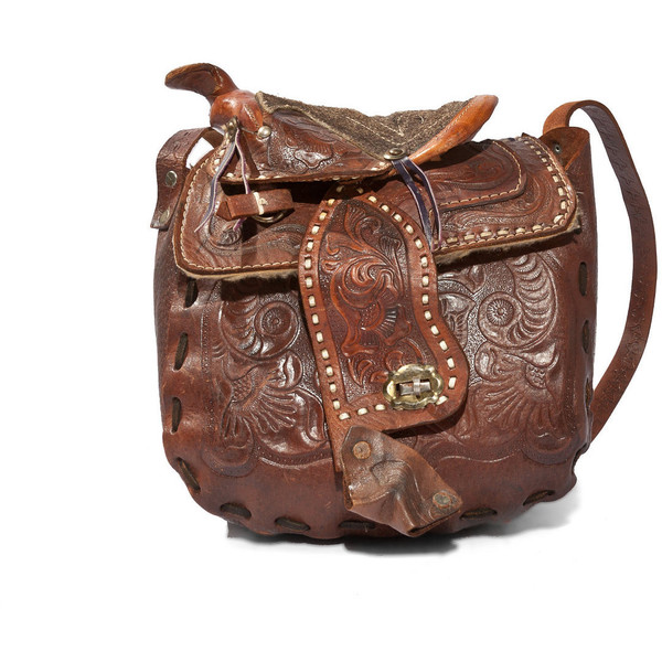 Vintage Western Brown Tooled Leather Purse Horse Saddle Bag... - Polyvore