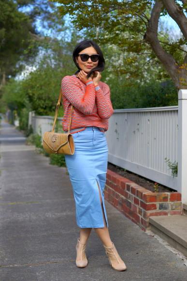 slit skirt blogger sunglasses bag midi skirt cecylia striped sweater boots beige