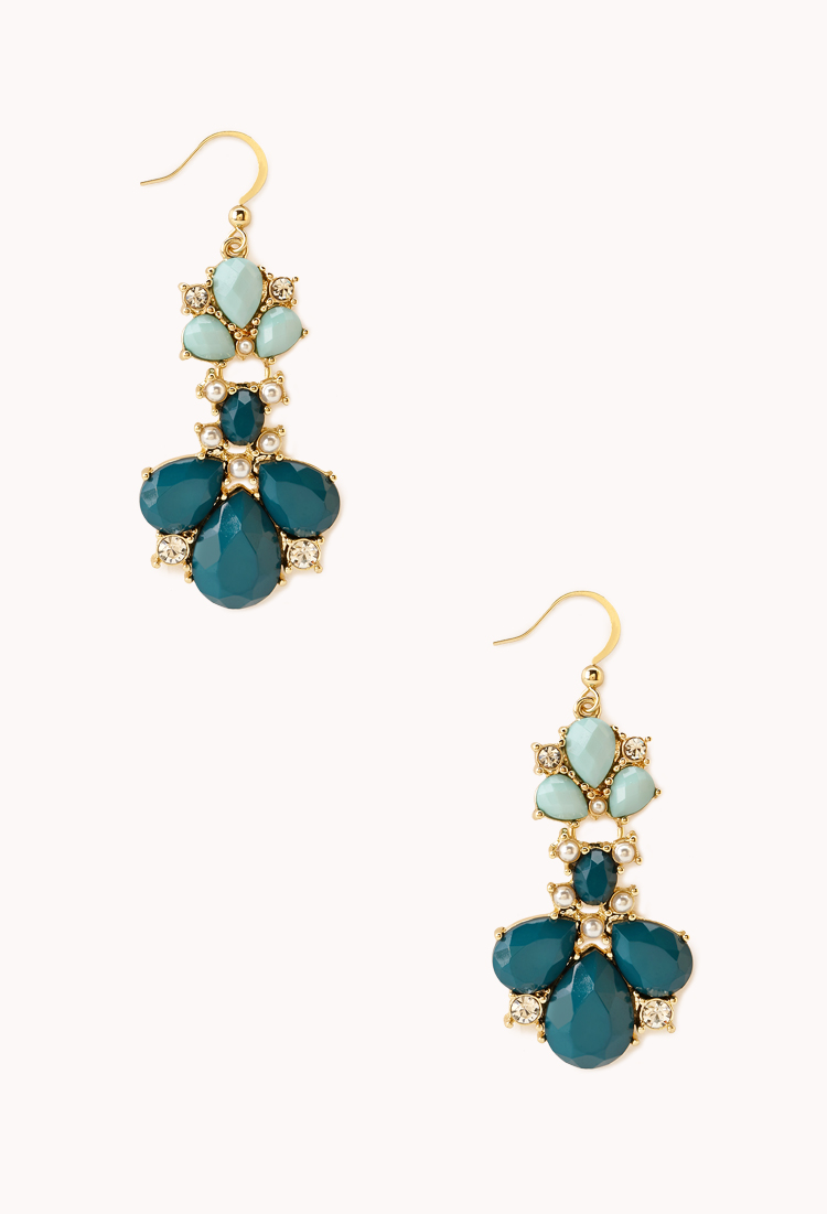 Regal Two-Tone Drop Earrings | Accessories | Jewellery | Women - 1000065746 | Forever 21 UK