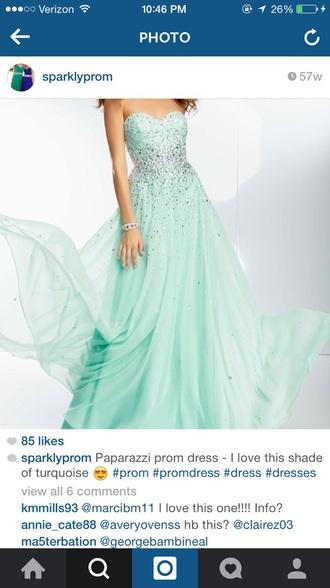 dress turquoise dress sparkly dress prom dress