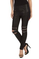 Effect black zipper legging