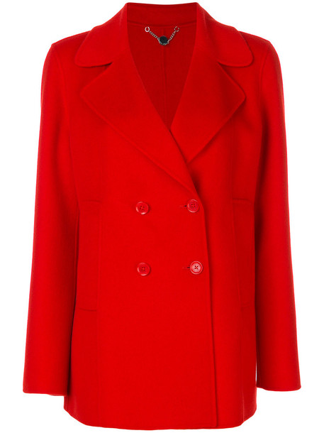jacket double breasted women wool red