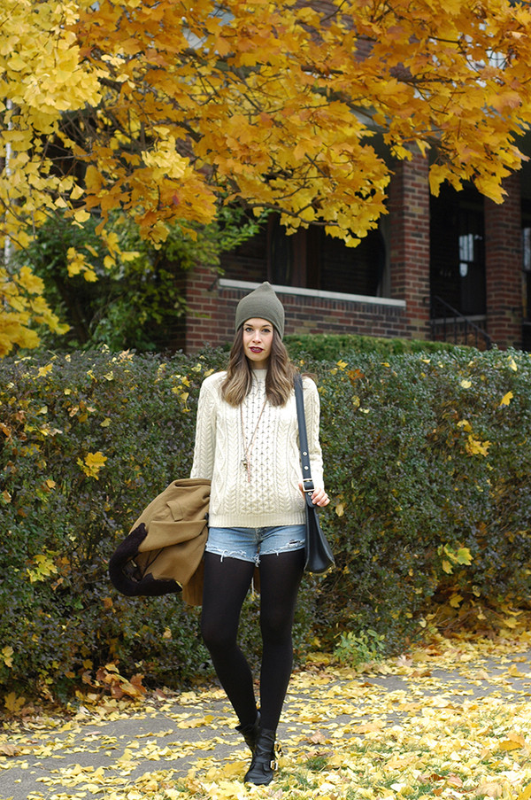 orchid grey coat sweater shorts hat shoes bag jewels