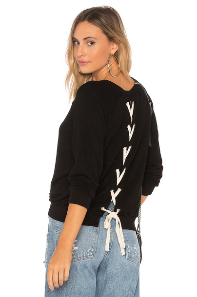 Monrow sweatshirt athletic lace black sweater