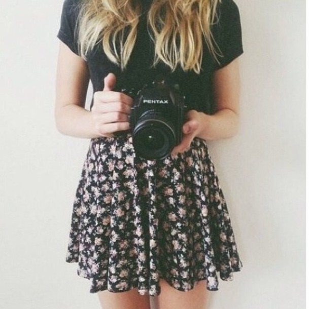 Black Floral Skirt - Shop for Black Floral Skirt on Wheretoget