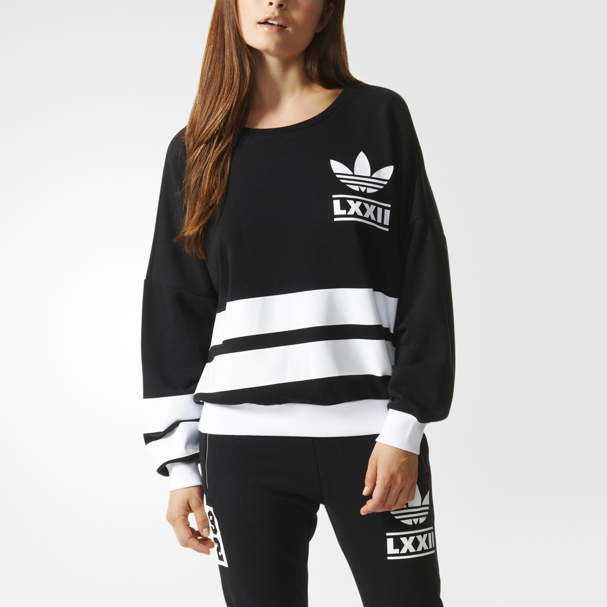 Buy Black adidas Originals 3 Stripes Velvet Overhead Hoodie