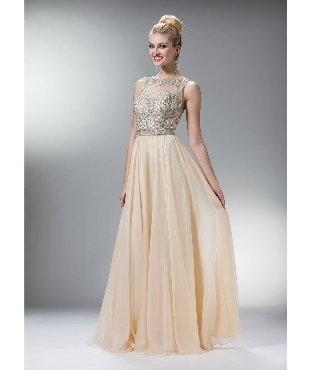 2014 Prom Dresses - Champagne Chiffon & Stone Criss Cross Gown - Unique Vintage - Prom dresses, retro dresses, retro swimsuits.