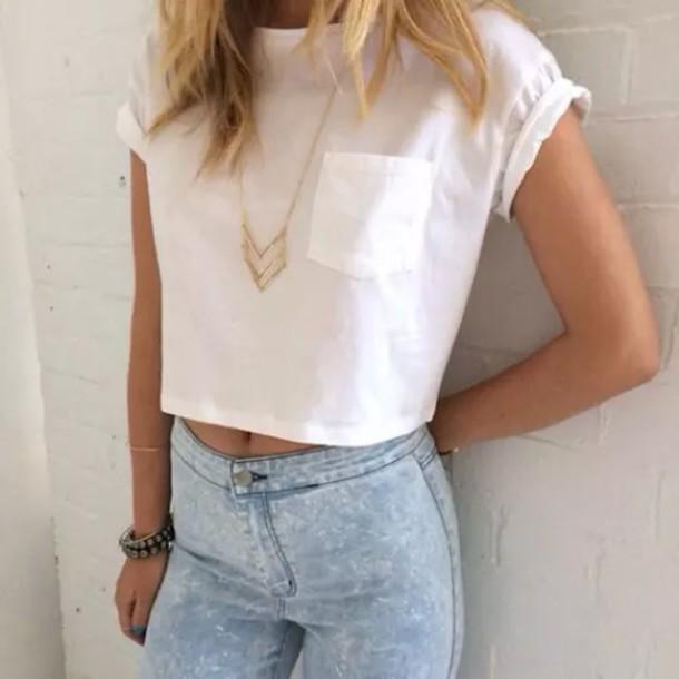 shirt crop tops white necklace acid wash jeans