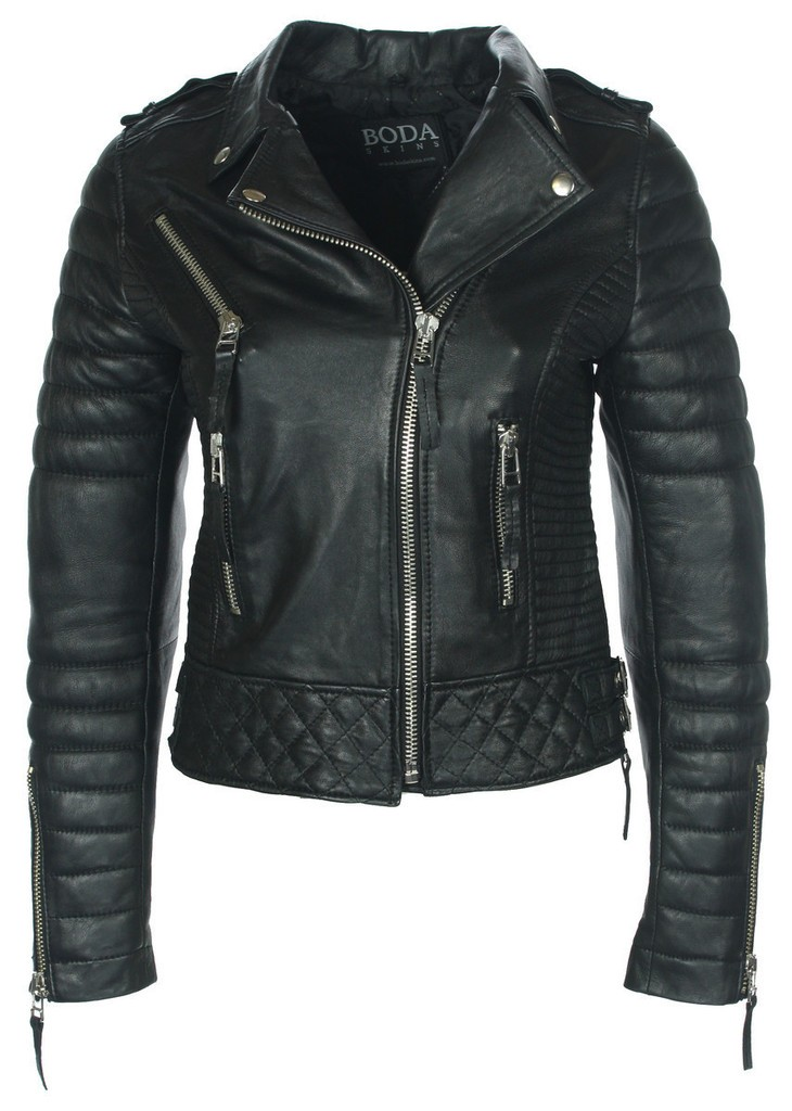 Kay Michaels Oil Black Quilted Biker Jacket - Boda Skins