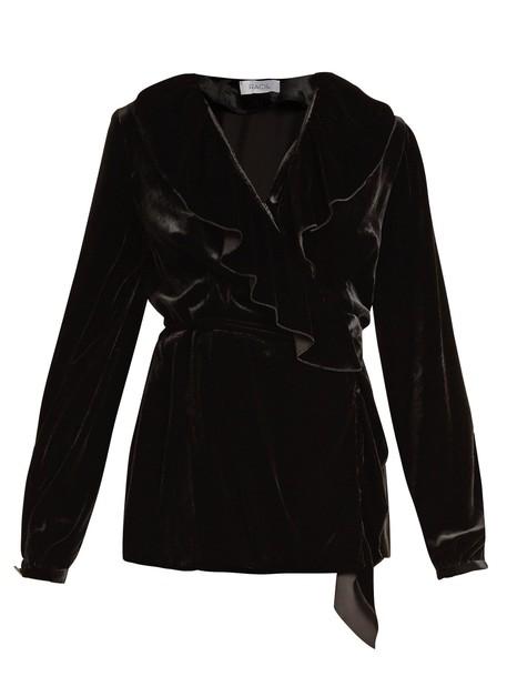 Racil top wrap top ruffle velvet black