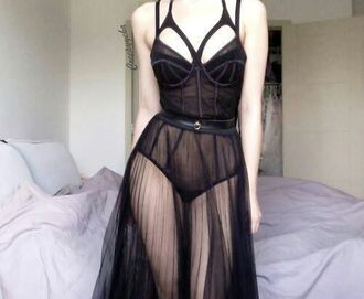 dress little black dress seethrough underwear see through dress see through lingerie lingerie see trough skirt belt straps kink black pretty underwear bra undies tell me goth lolita pastel goth spike garter cage dark skirt bustier bodysuit lace cut-out gothic lolita maxi dress