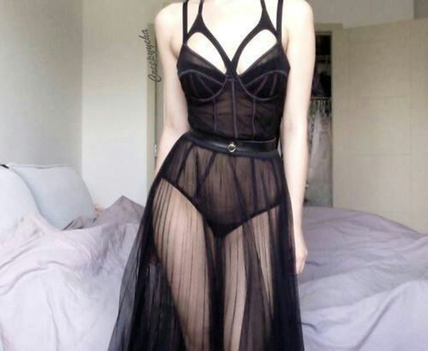 dress little black dress seethrough underwear see through dress see through lingerie lingerie see trough skirt belt straps kink black pretty underwear bra undies tell me goth lolita pastel goth spike garter cage dark skirt bustier bodysuit lace goth cut-out