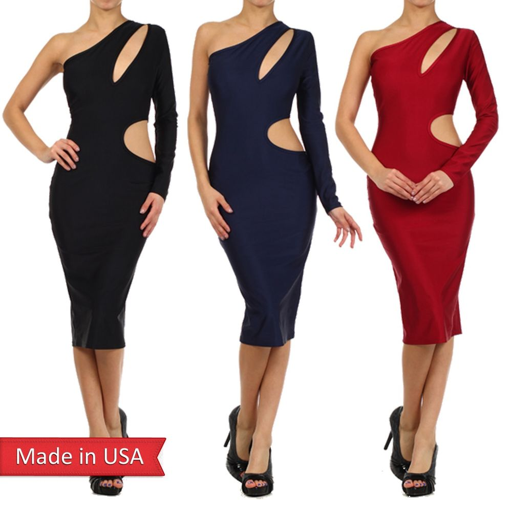 Women Sexy Cut Out Detail Luxe Nylon One Shoulder Bodycon Midi Pencil Dress USA