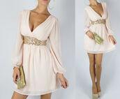 dress,peach dress,ivory dress,gold sequins,wrap dress,cream dress,long sleeve dress