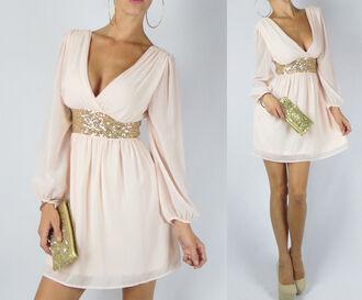 dress peach dress ivory dress gold sequins wrap dress cream dress long sleeve dress