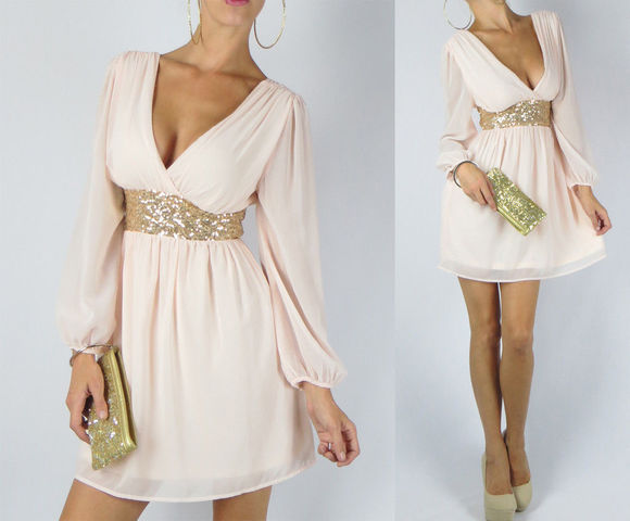 dress cream dress peach dresses ivory dress gold sequins wrap dress long sleeve dress