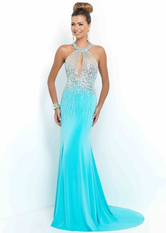 dress teal dress teal prom dress prom gown rhinestones