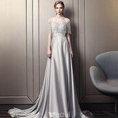 dress,luxury dresses,satin dress,beading,girl,grey dress,long dress,gorgeous dress,evening dress,formal dress,high neck