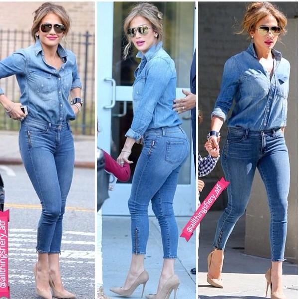 blouse jeans shirt j lo