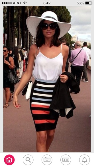 dress midi skirt multicolor and black white flowy blouse