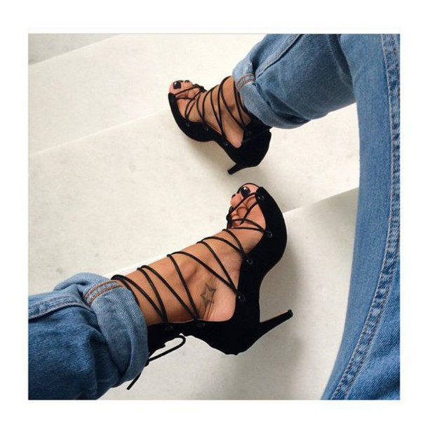 shoes lace up black heeled sandals lace up high heels fashion instagram peep toe pumps