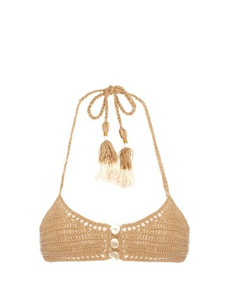 bikini bikini top triangle bikini triangle crochet beige swimwear