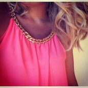 top,clothes,neon,gold chain,celebrity style,pink top,swing top,fluo,fluro pink,neon pink,chain