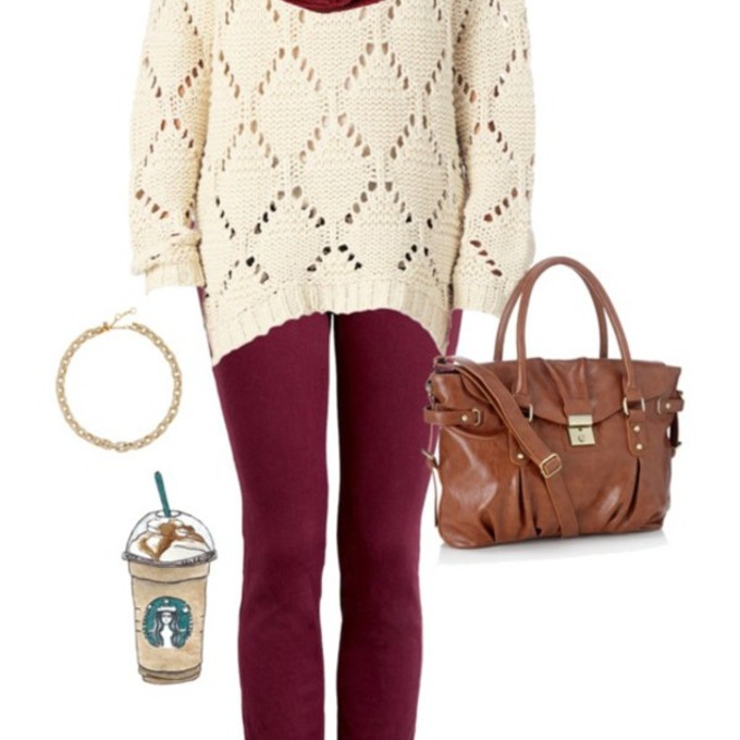 sweater scarf leggings outfit red back to school burgundy shoes winter sweater combat boots bag cozy scarf accessories scarf red