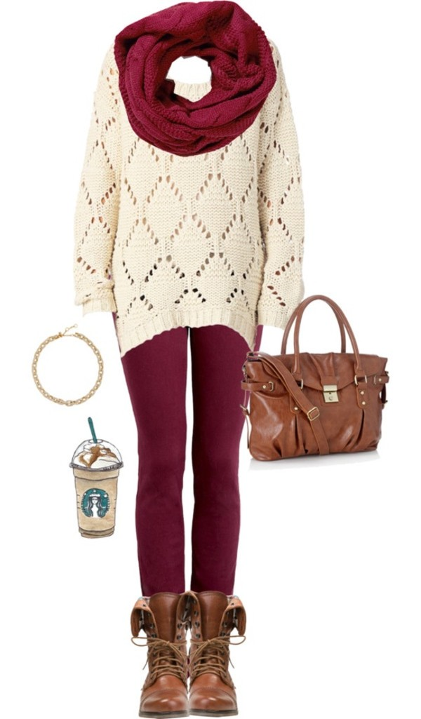 sweater outfit red leggings scarf back to school burgundy winter sweater combat boots bag cozy shoes scarf accessories cardigan brown bag