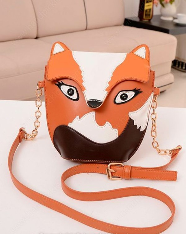 bag fox fox bag handbag shoulder bag orange clutch