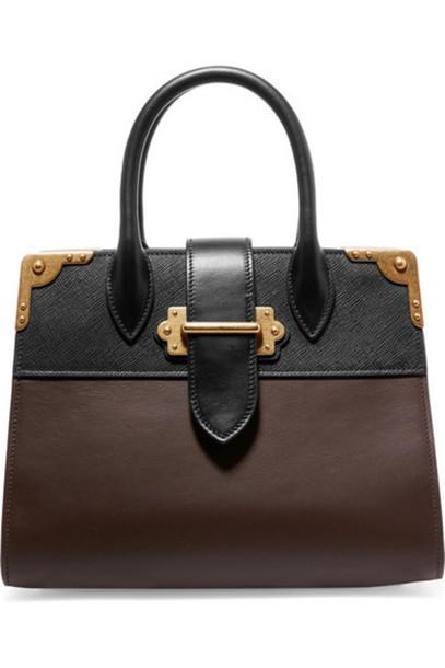 b42e8e713878 Prada - Cahier Large Two-tone Leather Tote - Chocolate - Wheretoget