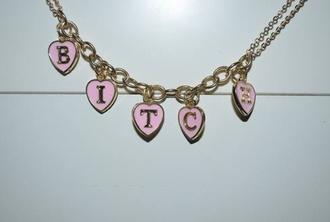 jewels jewelry bitch pink pale grunge soft grunge gold necklace bracelets bitch bracelet heart shaped letters