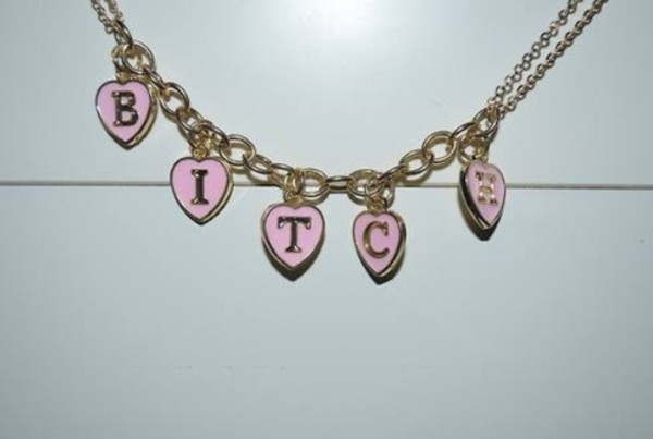 jewels jewelry bitch jewelry pink pale grunge soft grunge gold necklace bracelets bitch bracelet heart shaped letters