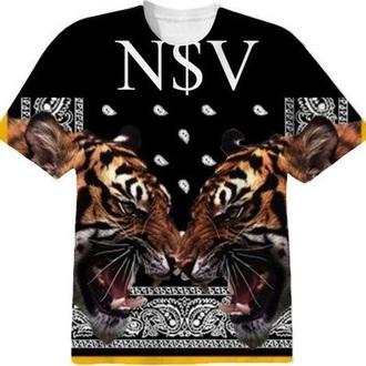 fashion black t-shirt bandana print tiger print dope wishlist