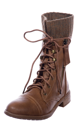 Combat Sweater Cuff Lace Up Combat Boots - Tan from Forever Link ...