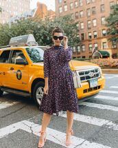 dress,midi dress,floral dress,printed dress,sunglasses,earrings,sandals,strappy sandals,shoulder bag