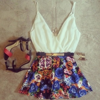 skirt belt top flowers skirt floral floral skirt high heels medium heels shirt shoes skater skirt