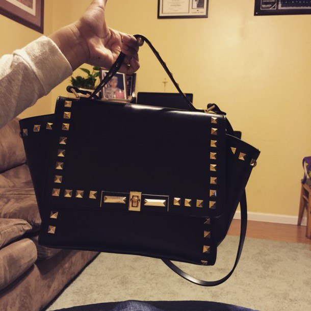 bag black and gold studd bag
