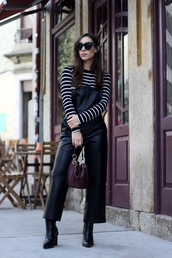pants,tumblr,overalls,dungarees,leather overalls,black overalls,boots,black boots,top,stripes,striped top,sunglasses