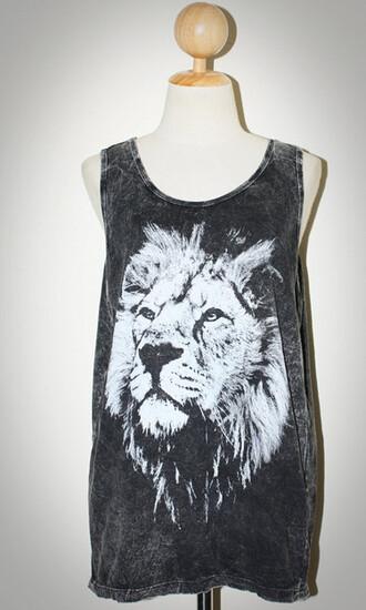 tank top lion black white animal printed rock lion face animal face print