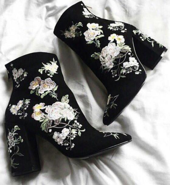 Shoes black white flowers velvet flowers heels boots ankle shoes black white flowers velvet flowers heels boots ankle boots embroidered floral booties wheretoget mightylinksfo