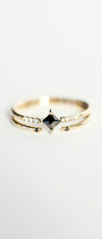 jewels ring bagues gold black