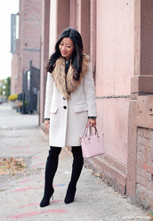extra petite,blogger,faux fur,white coat,suede boots,classy,fur collar coat