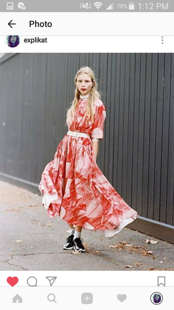 63cf04cd0564 dress red red dress streetstyle streetwear mode d'amour orange orange dress  white floral flowers