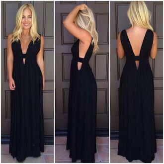 black maxi dress sleeveless maxi dress www.ustrendy.com plunge neck maxi dress plunge back maxi dress plunge side maxi dress