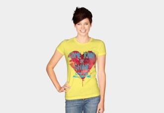 t-shirt rain heart iloveyou love cute art watercolor yellow red heart cutesy women's t shirt graphic tee designbyhumans dbh i love you