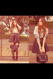 skirt,black,black leather bag,black bag,high waisted skirt,bracelets,necklace,grey shirt,shirt,over the knee,knee high socks,socks,black shoes,shoes,underwear,sweater