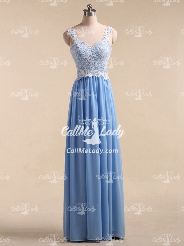 Blue pleated chiffon appliques long prom dresses with straps - CallMeLady
